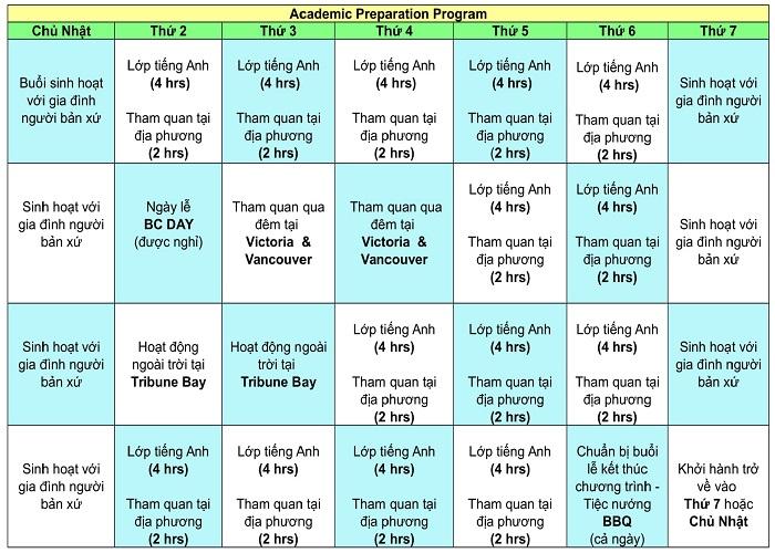 Academic Preparation Program Schedule 1