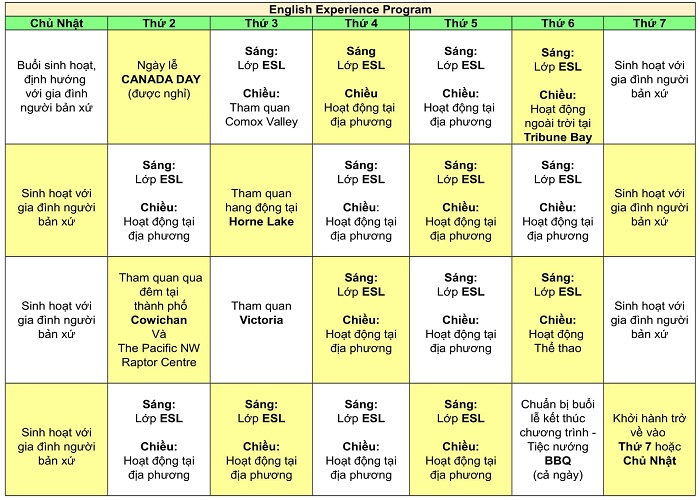 English Experience Program Schedule 1