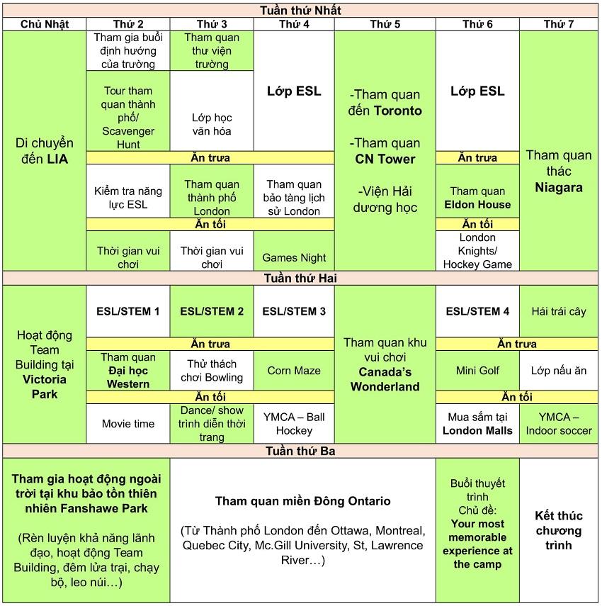 Summer Schedule 1