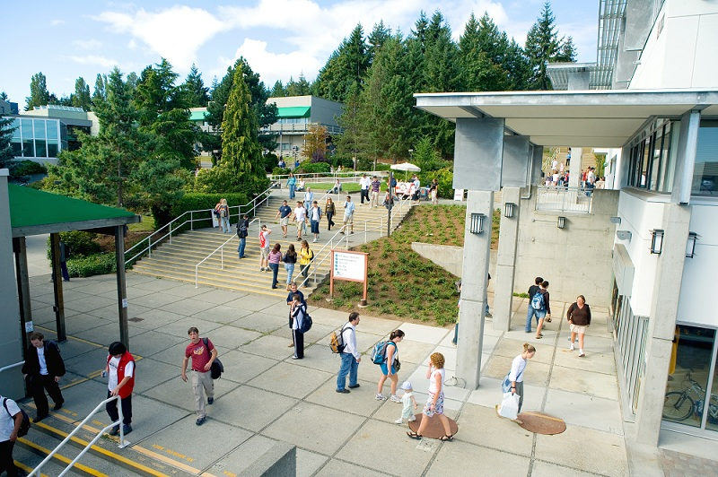 VIU students between caf and library
