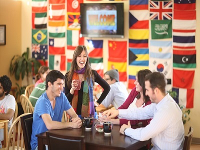 international students and flags