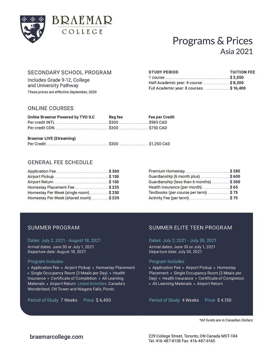 Breamar Programs Prices Sheet Asia
